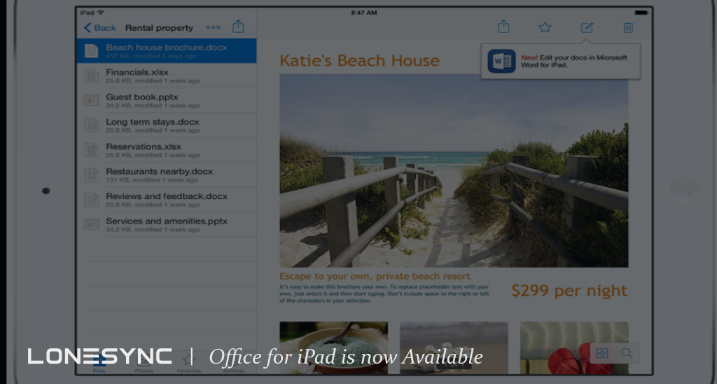 Office for iPad is now Available