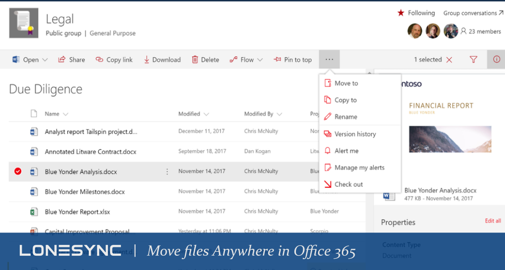 Move files Anywhere in Office 365